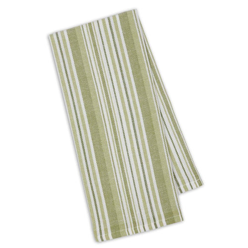 Dishtowel, Parsley Green Herringbone Stripe