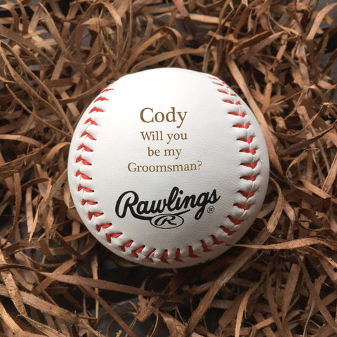 Groomsman announcement baseball personalized / Laser engraved