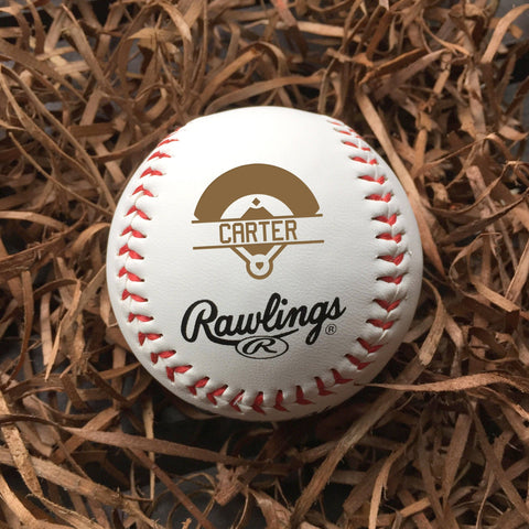 Baseball with field emblem personalized / Laser engraved