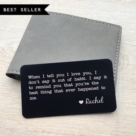 Metal wallet insert card personalized message / Laser engraved