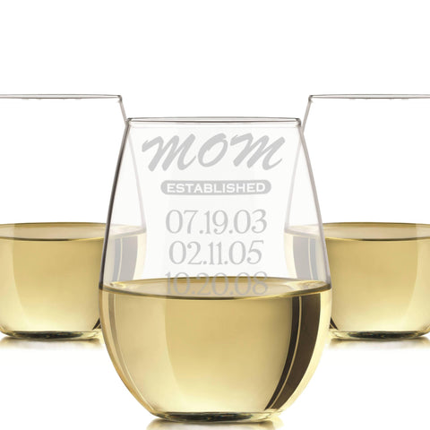 Mom established stemless wine glass personalized 20 oz. / Laser engraved