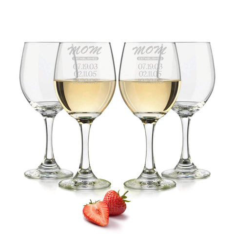 Mom established wine glass personalized 20oz. / Laser engraved