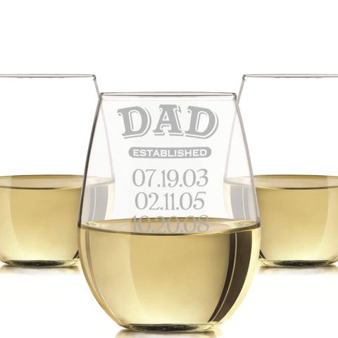 Dad established stemless wine glass 20oz. / Laser engraved