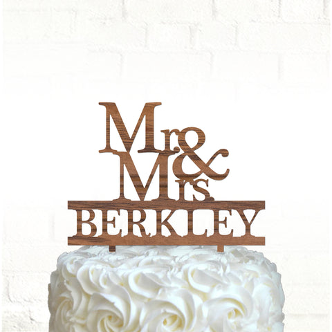 Mr & Mrs wood cake topper personalized / Laser cut