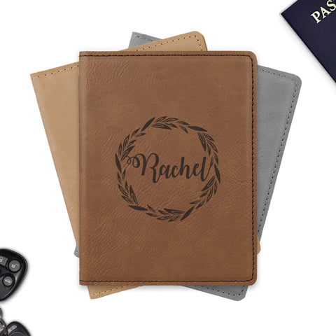 Wreath design passport holder personalized / Laser engraved