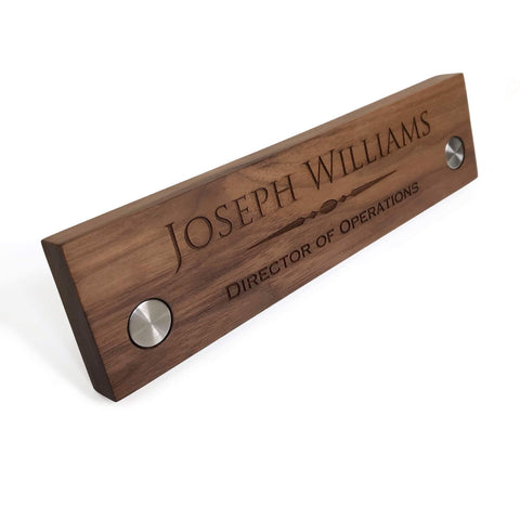 Wood desk name plate personalized / Laser engraved