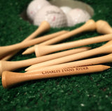 Personalized golf tees, natural wood or white / Laser engraved