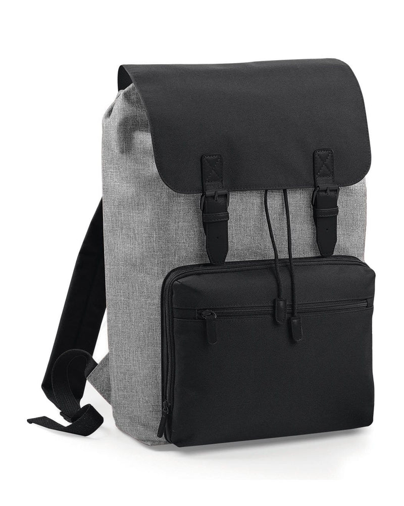 BagBase BG613 Vintage Laptop Backpack Marl & Black