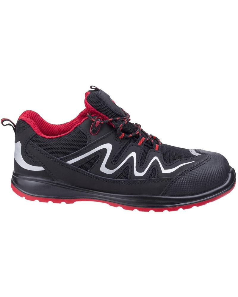 Centek FS312 S3 Extra Lightweight Black / Red Safety Trainers