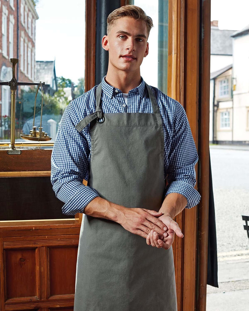 Male in Cafe Wearing Dark Grey Heavy Durable Cotton Apron