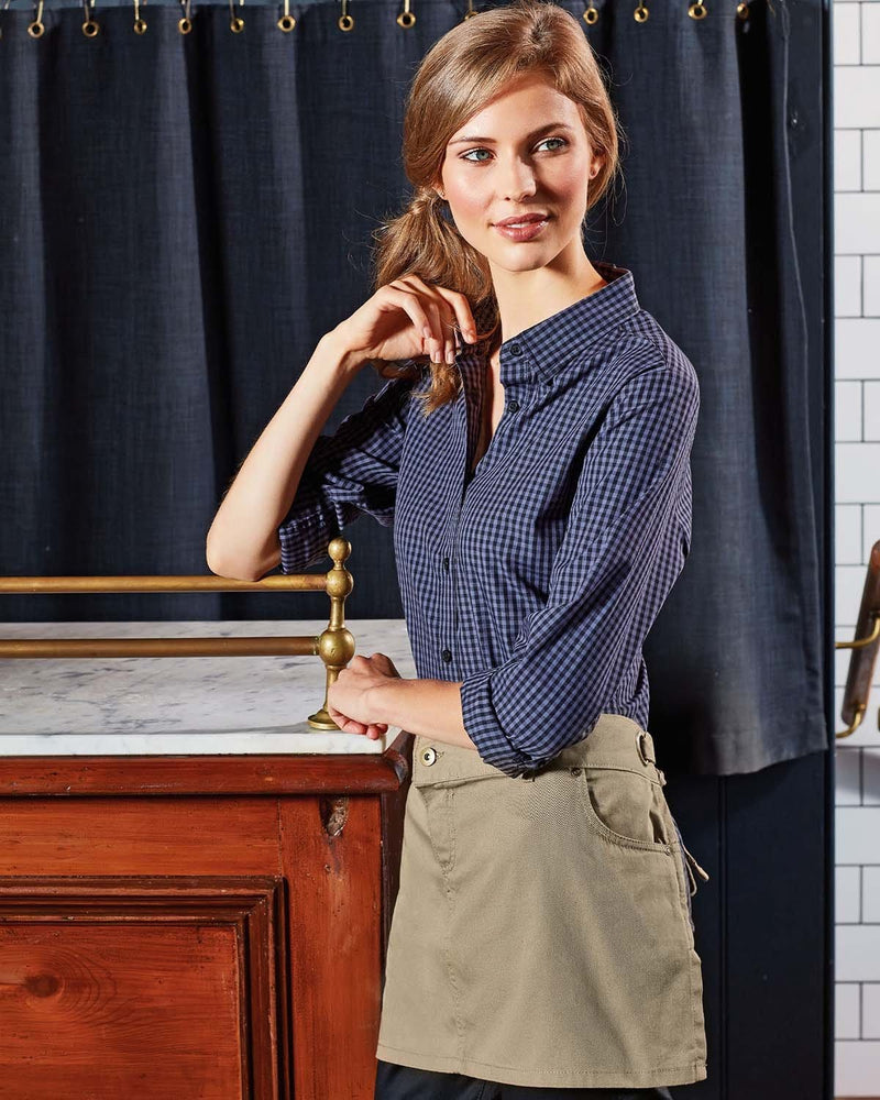 Bar Waitress Wearing Khaki Chino Inspired Short Waist Apron