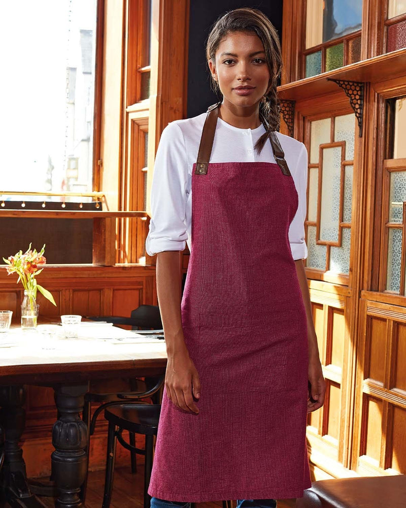 Lady in Cafe Wearing Burgundy Cotton Full Apron