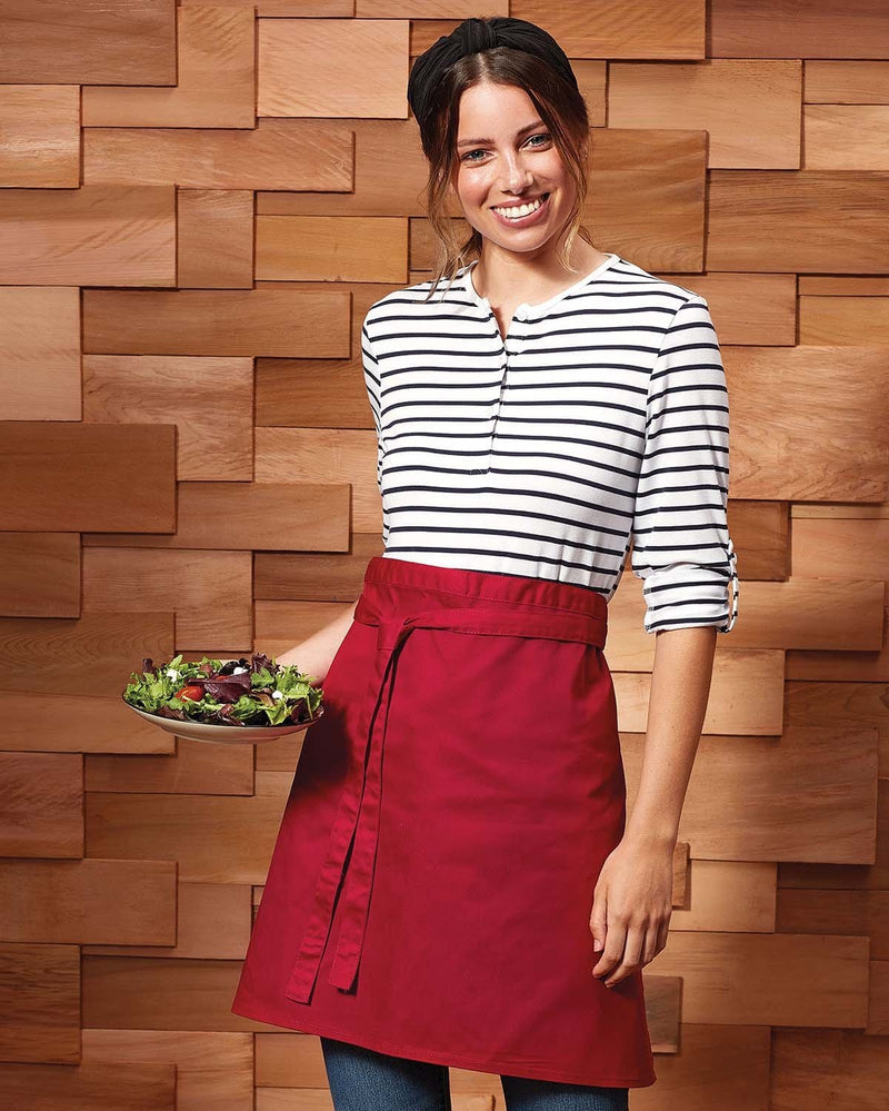 Waitress Hold Plate of Salad Wearing Red Mid Waist Front Tie Apron