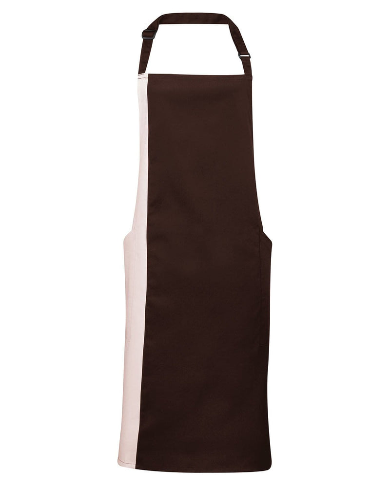 Premier PR162 Contrast Bib Apron - Brown & Natural