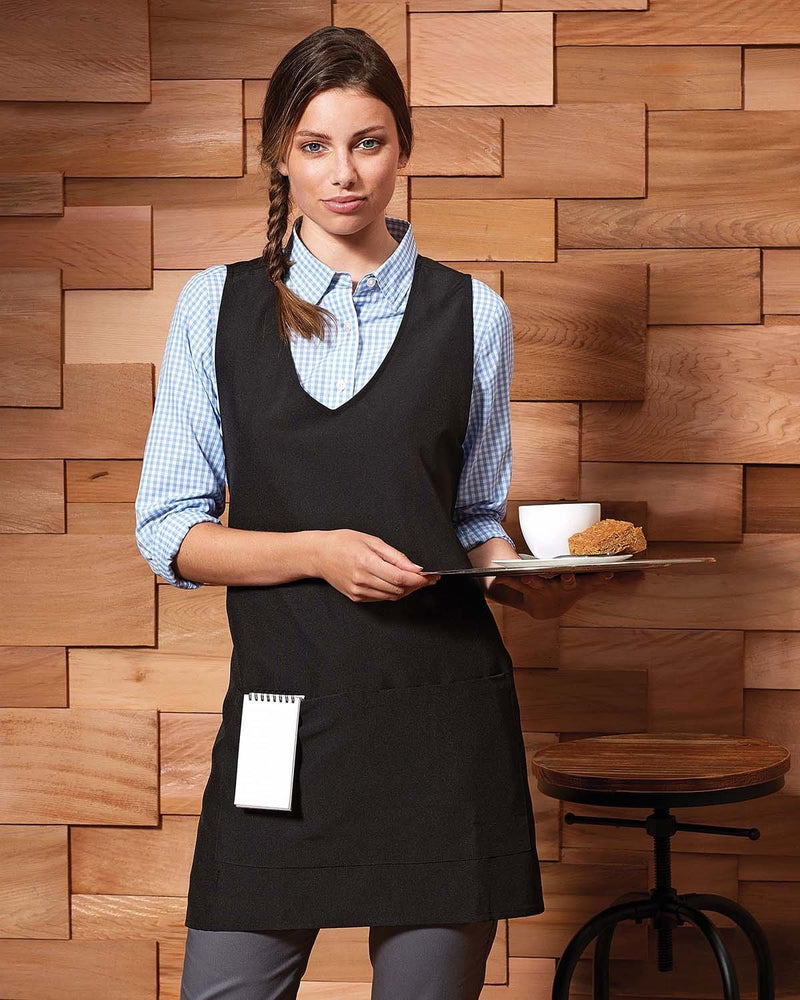 Waitress Carrying Coffee Wearing Tunic With Towel in Pocket