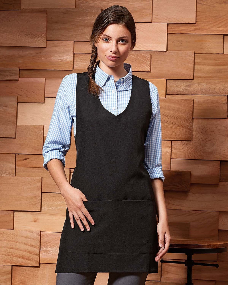 Waitress Wearing Black Double Pocketed Wrap Around Tunic