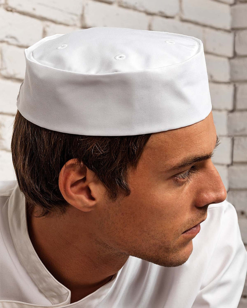 Male Chef Wearing White Easy Fitting Turn Up Chef Hat