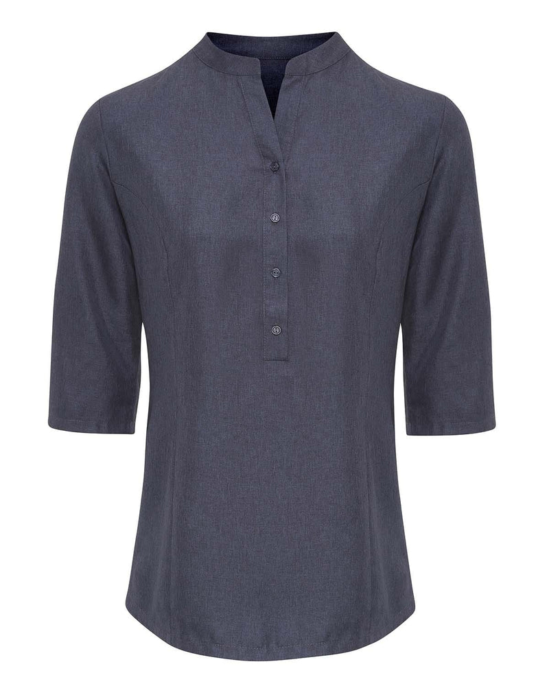 Premier PR685 Verbena Linen Look Button Up Beauty Tunic - Heather Black