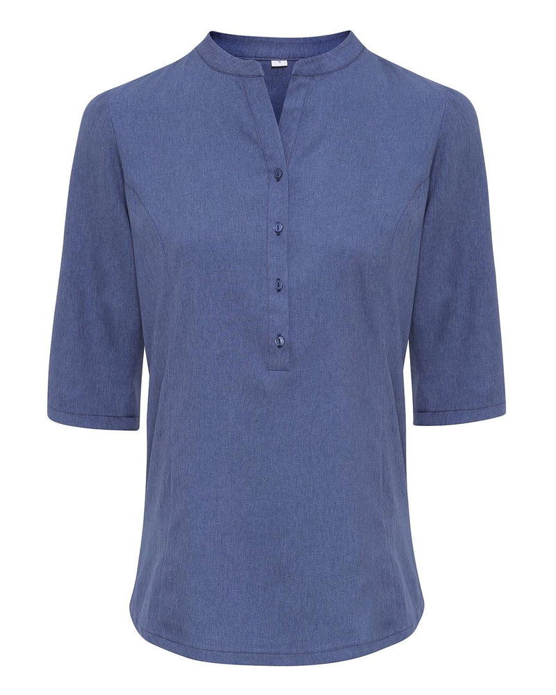 Premier PR685 Verbena Linen Look Button Up Beauty Tunic - Heather Blue