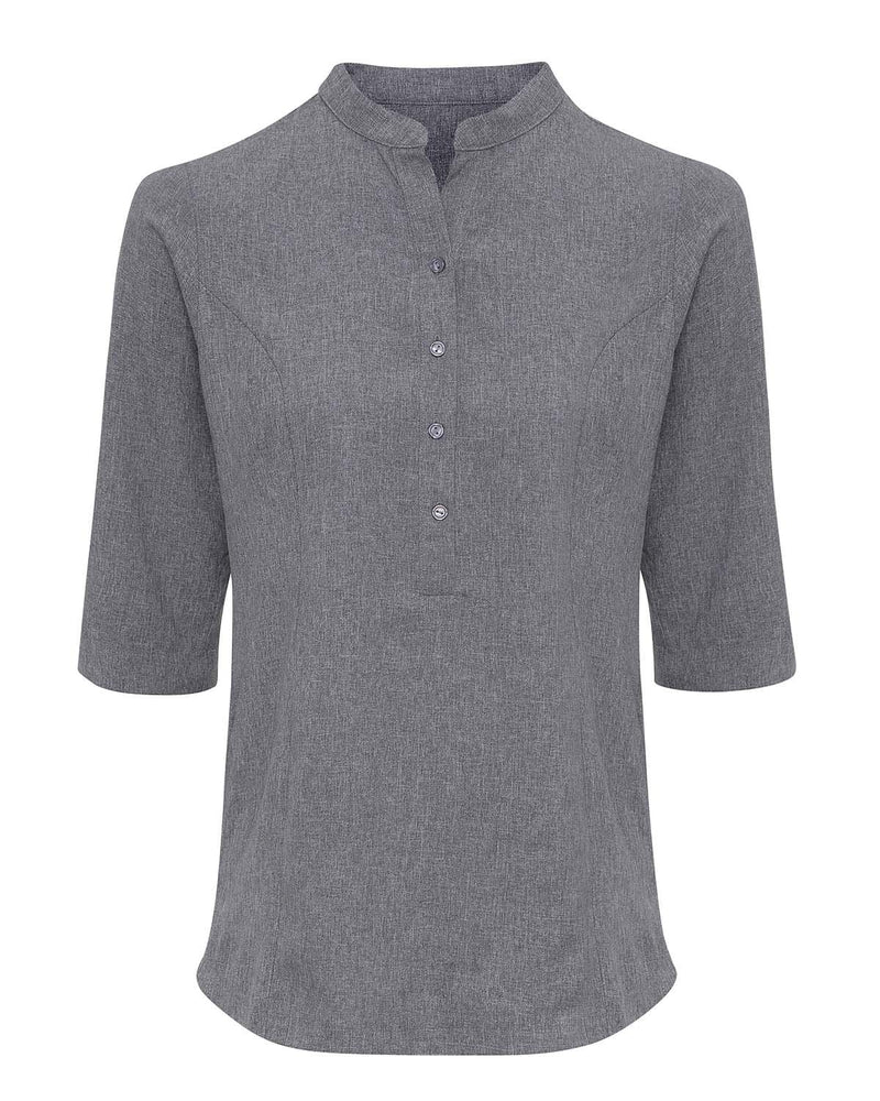 Premier PR685 Verbena Linen Look Button Up Beauty Tunic - Heather Grey