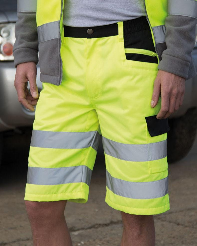 Result R328X Hi Vis Yellow Cargo Shorts Male Model