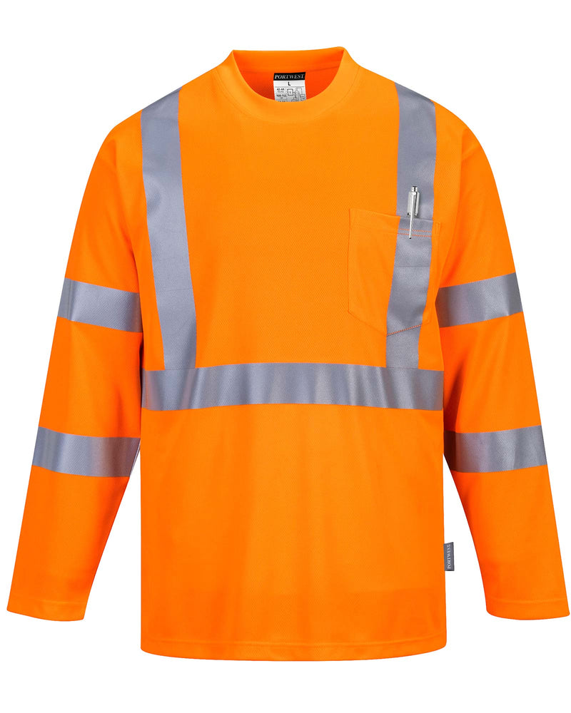 Portwest S191 Hi Vis Long Sleeve Pocket T-Shirt