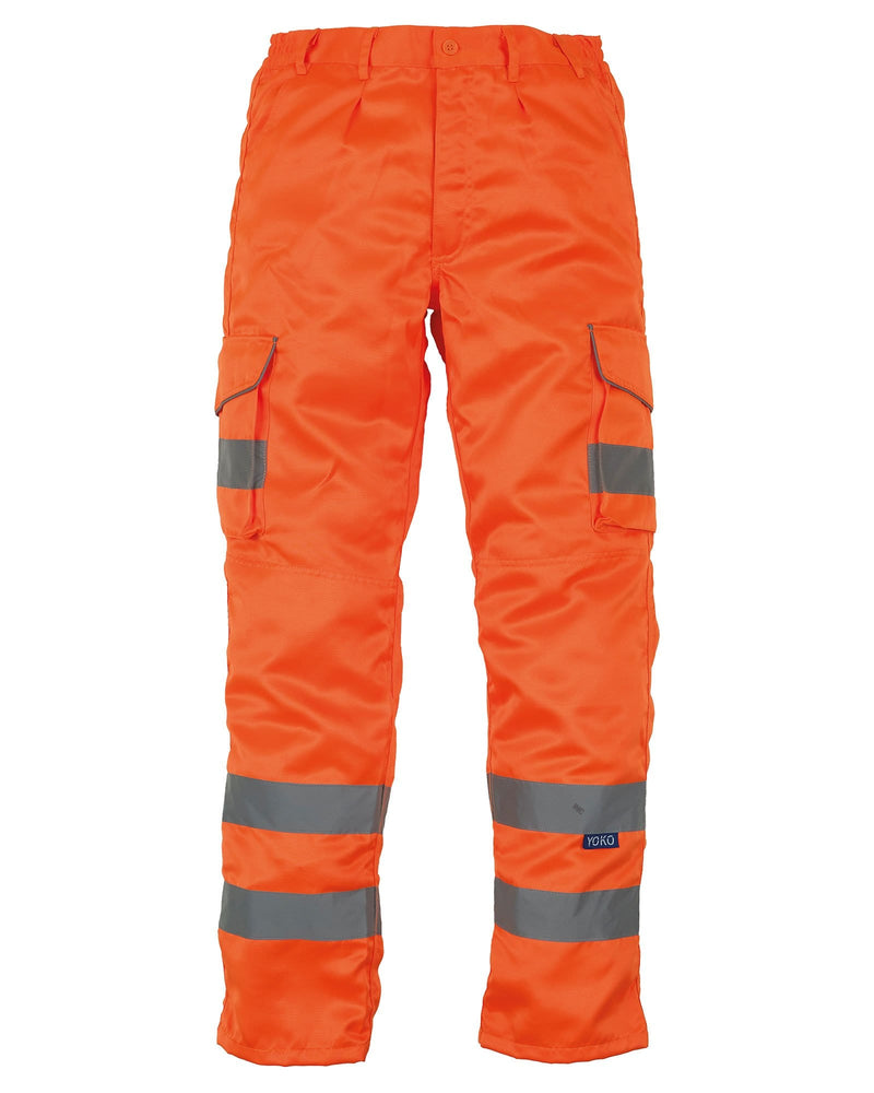 Yoko HV018T Hi Vis Cargo Trousers Orange