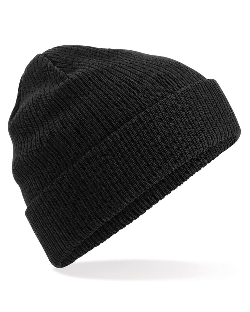 Beechfield B50 Organic Cotton Black Beanie - Side View