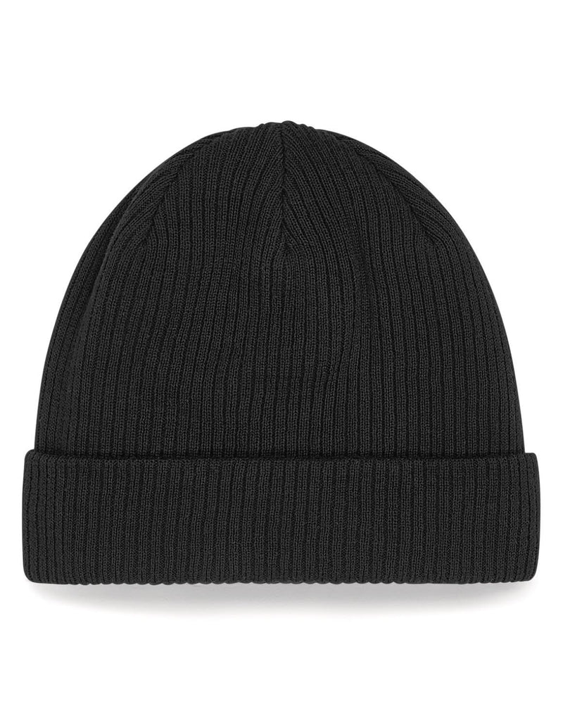 Beechfield B50 Organic Cotton Black Beanie - Front View