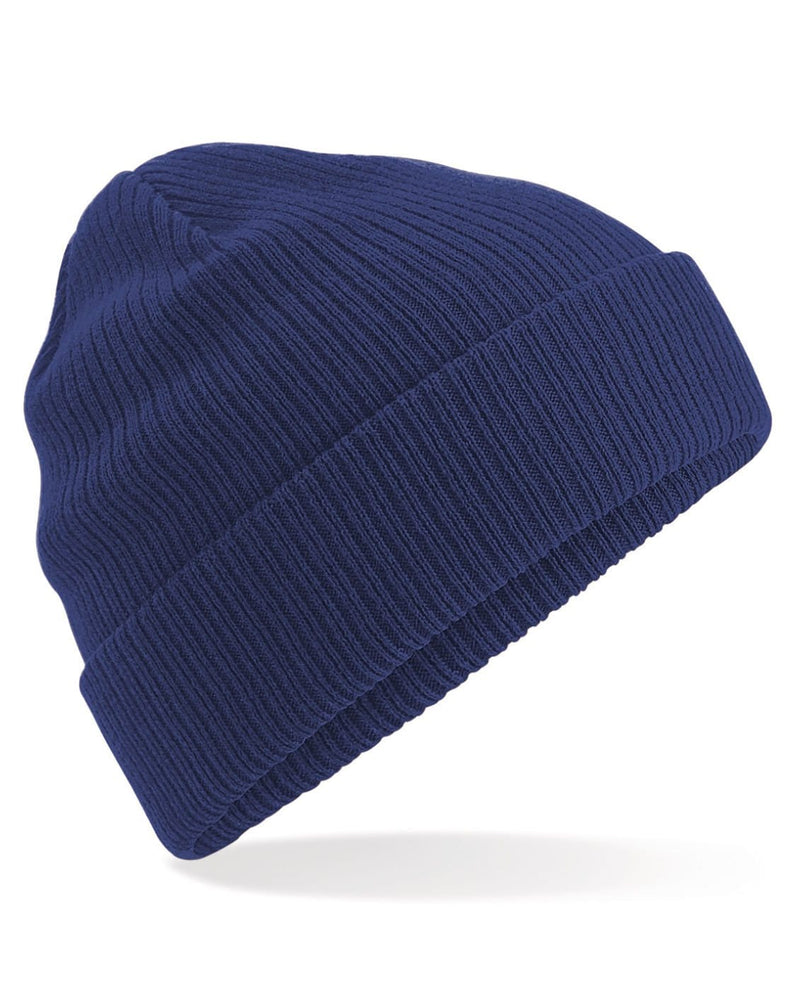 Beechfield B50 Organic Cotton Navy Beanie - Side View