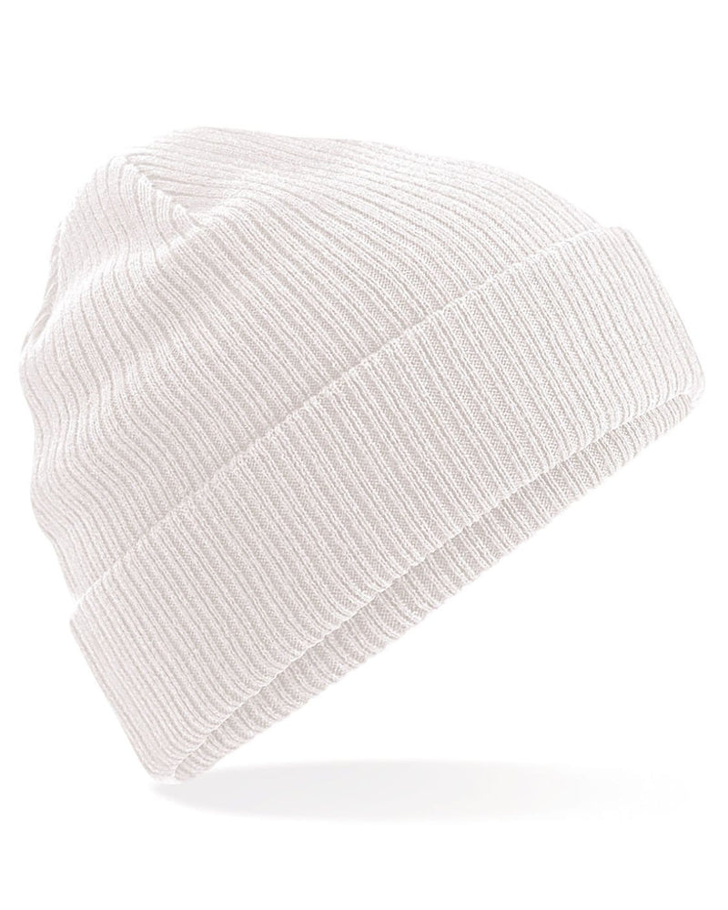 Beechfield B50 Organic Cotton White Beanie - Side View