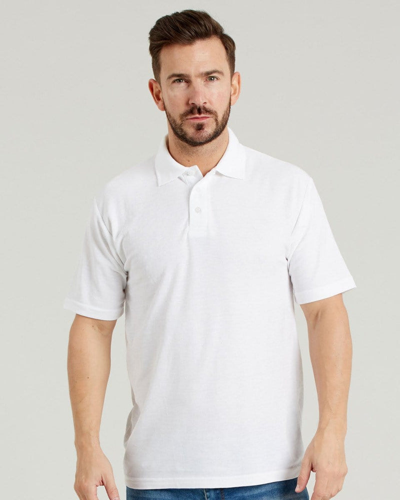 Ultimate UCC003 Mens White Pique Polo Shirt
