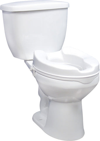 Drive Medical Raised Toilet Seat with Lock and Lid, Standard Seat, 4""