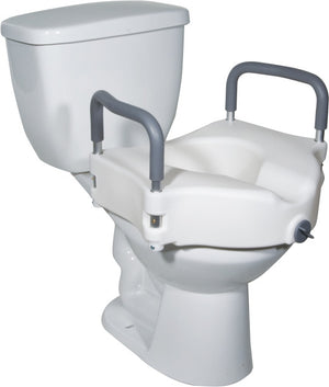Drive Medical Raised Toilet Seat with Removable Padded Arms, Standard Seat