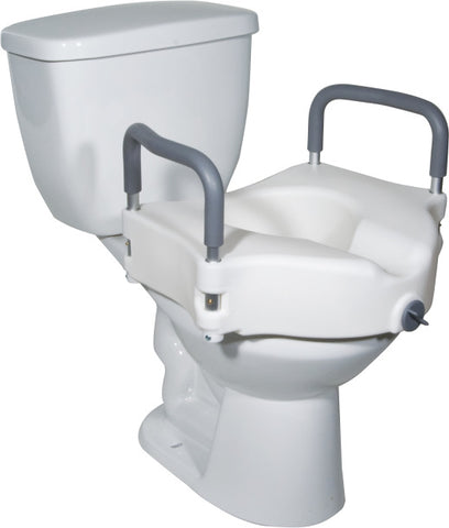 Image of Drive Medical Raised Toilet Seat with Removable Padded Arms, Standard Seat