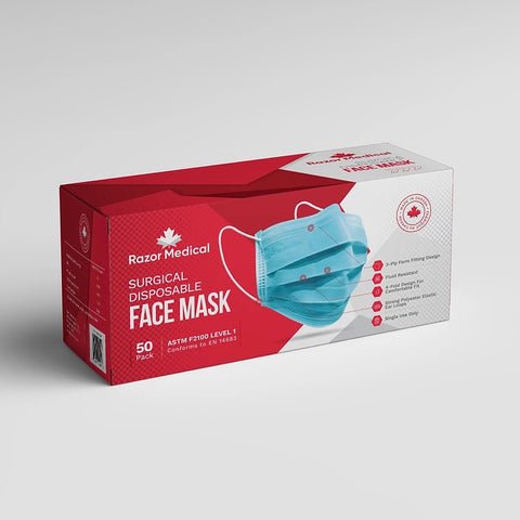 Surgical Disposable Face Mask, ASTM Level 1, Blue