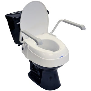 Invacare Toilet Seat Raiser, With Armrests and Lid, Adjustable