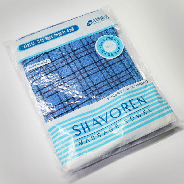 NEW! 10 x CHECK BLUE ITALY TOWEL KOREAN WASHCLOTH BODY SCRUBBER EXFOLIATING