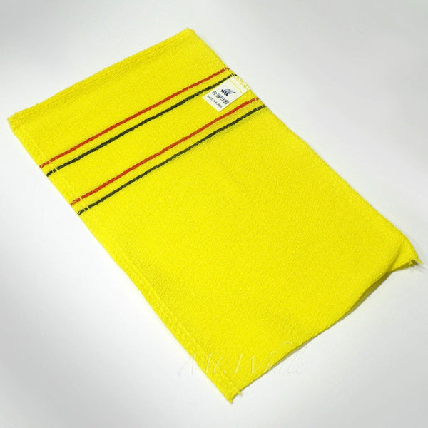 NEW! BIG YELLOW ITALY TOWEL KOREAN WASHCLOTH BODY SCRUBBER EXFOLIATING SONGWOL