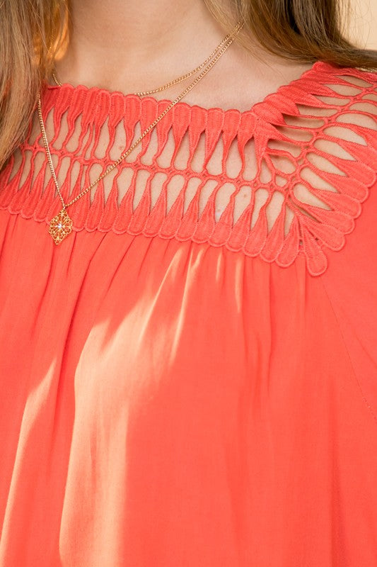 Babydoll Lace Top-Coral