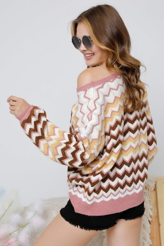 Round Neck Chevron Print Top