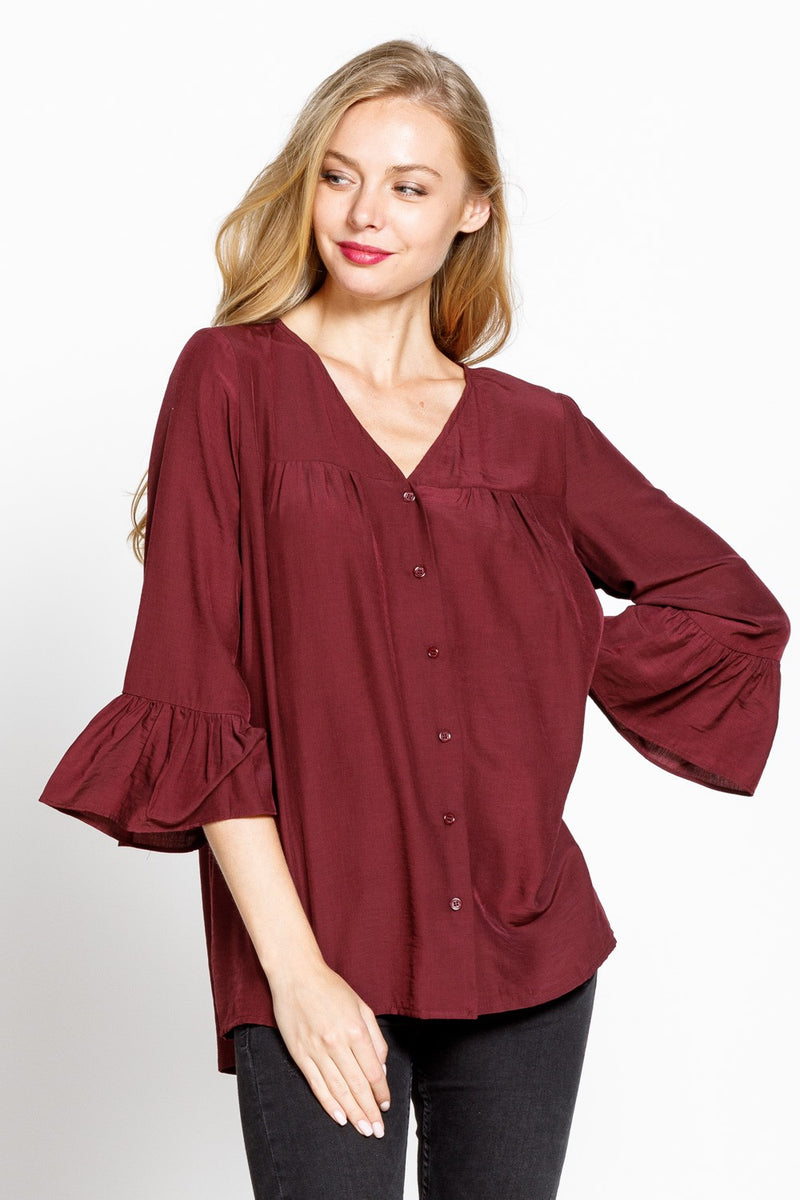 SOLID BUTTON DOWN 3/4 BELL SLEEVE WOVEN Shirt-Burgundy