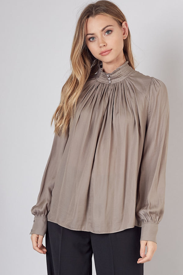 Button Neck Woven Top