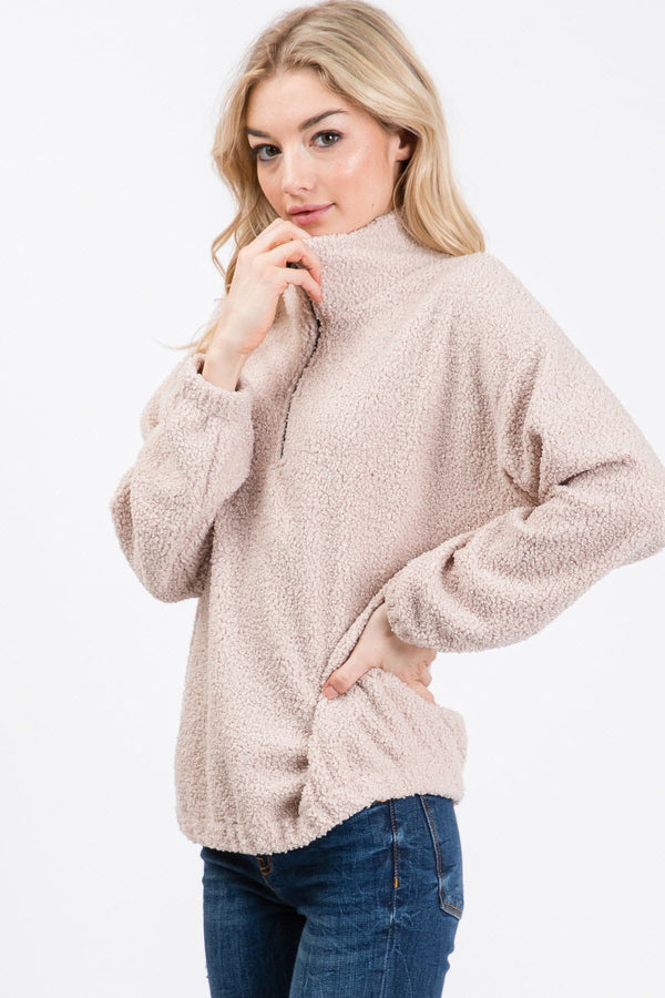 Poodle Knit 1/2 Zipper Top-Taupe