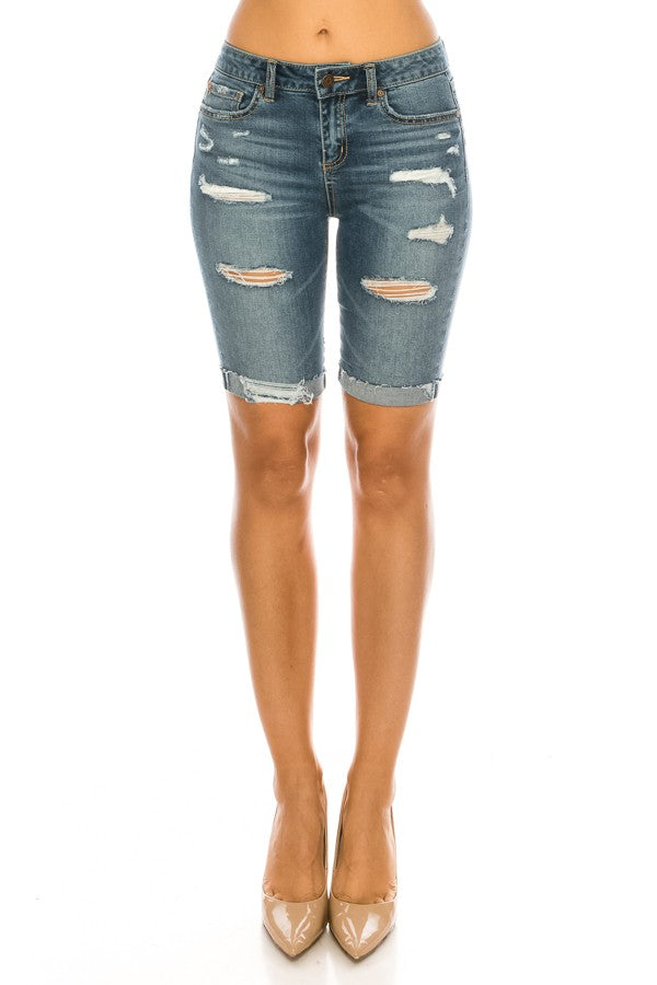 Distressed Mid Rise Rolled Denim Bermuda Shorts
