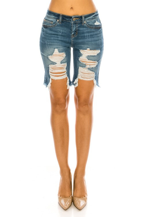 Distressed Mid Rise Frayed Denim Bermuda Shorts