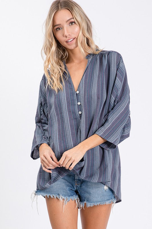 3/4 sleeve Multi Stripe Top-Blue