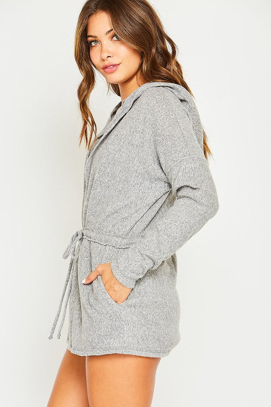 Hooded Cardigan-Gray
