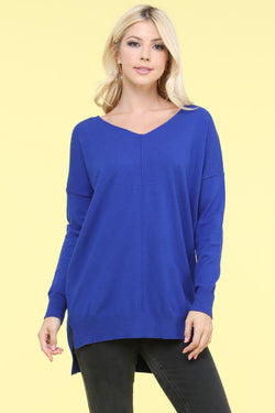 Long Sleeve Knit Top-Blue