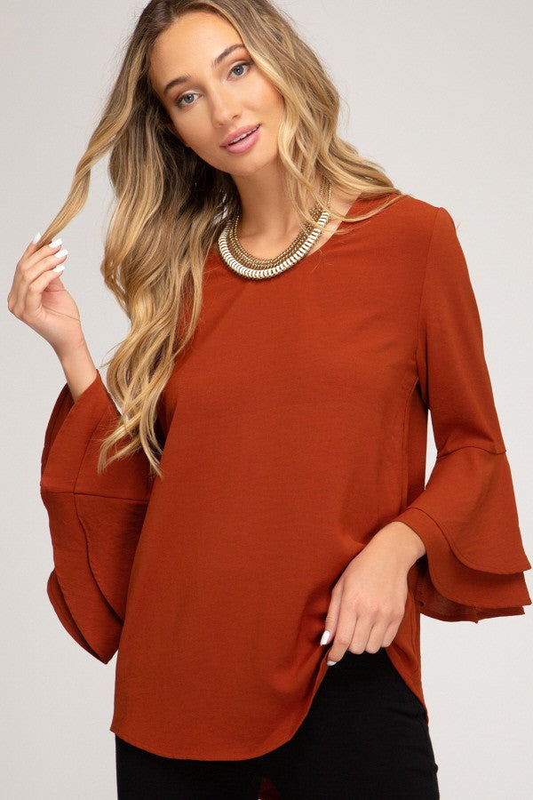 LONG DOUBLE BELL SLEEVE TOP-Rust